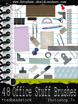 office work paperclips rubber band binder edges eyelets papers scraps crumpled old notebooks rulers tags tape pushpins pencils pens
