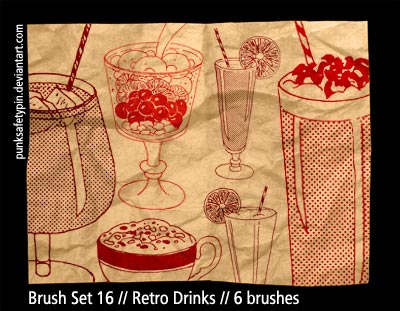 drinks drinking cocktails 1970 drawings beverages glasses retro vintage