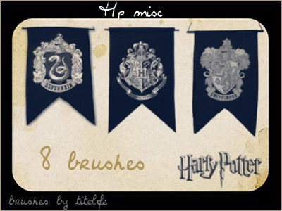 Harry Potter flags crests school Gryffindor Ravenclaw Hufflepuff Slytherin Hogwarts