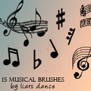Photoshop: fifteen musical notes and res (Icon sized musical notes brushes)