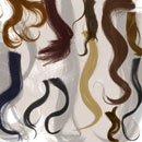 Photoshop: Hair strands (various strands of hair, mostly wavy (high resolution))