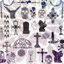 Photoshop: Dark-N-gothic (gothic symbols: rosses, gargoyles, graves, goblets, candles, chains, skulls, stained glass and more)