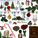 Photoshop: Holidays (Christmas and Hanukkah decorations: angels, bells, bows, candy canes, dradle, gifts, holly, icicles, string of christmas lights, menorah, milk, cookies, mistletoe, nutcracker, ornaments, poinsettia, snowflakes, snowman, stockings, christmas tree, wreath...)