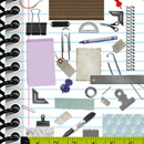 Photoshop: Office stuff (various office supplies: paperclips, rubber band, binder edges, eyelets, paper, scraps, crumpled, old, notebook, rulers, tags, tape, pushpins, pencil, pen…)