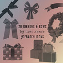 Photoshop: 20 decorative Photoshop brushes (parcels, ribbons and bows - mostly icon sized)