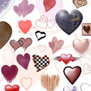 Photoshop: Hearts II (grungy hearts, heart outlines, hearts with swirls, patterned hearts, glittery hearts, basic hearts, a broken stone heart (with a bandaid!), a checkered heart, a tribal heart, a dripping heart, a heart with splatters, and more!)