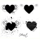 Photoshop: Hearts (4 hearts decorated with swirls, textures, drops, angels...)