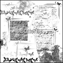 Photoshop: Butterfly (borders, old handwritten letters and various decorations, all with butterflies)