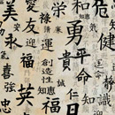 Photoshop: Kanji (various calligraphic characters in kanji. Each is named what the symbol means: beauty, courage, dangerous, eternity, good luck, happiness, health..)